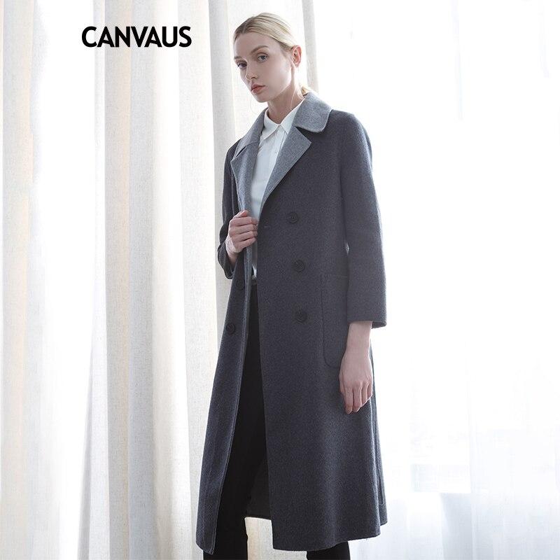 Холст 2018 Новый осень зима Для женщин 90% шерсть серый тонкий пояса Однобортный с длинными рукавами длинные двойные шерстяные пальто CF8078D