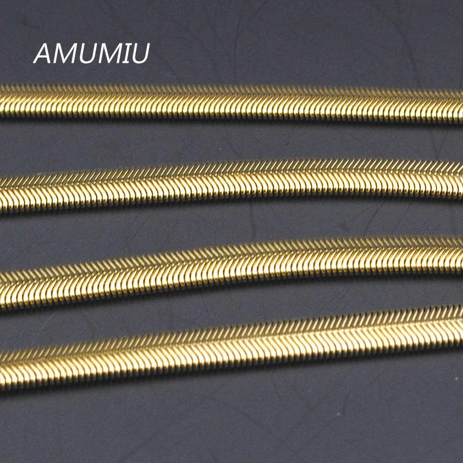 50/55/60 cm, 6mm, ze stali nierdzewnej złoty kolor płaski wąż naszyjniki łańcuch mężczyzna kobiet biżuteria 2017, sprzedaż hurtowa i darmowa wysyłka KN020