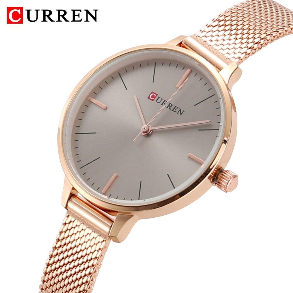 hot fashion quartz watch for women casual ladies watch free shipping waterproof elegant golden steel mesh band (29)