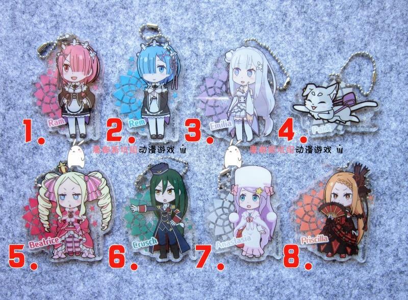 Rem Beatrice Anime Re:Zero kara Hajimeru Isekai Seikatsu Japanese Acrylic Keychain  цена