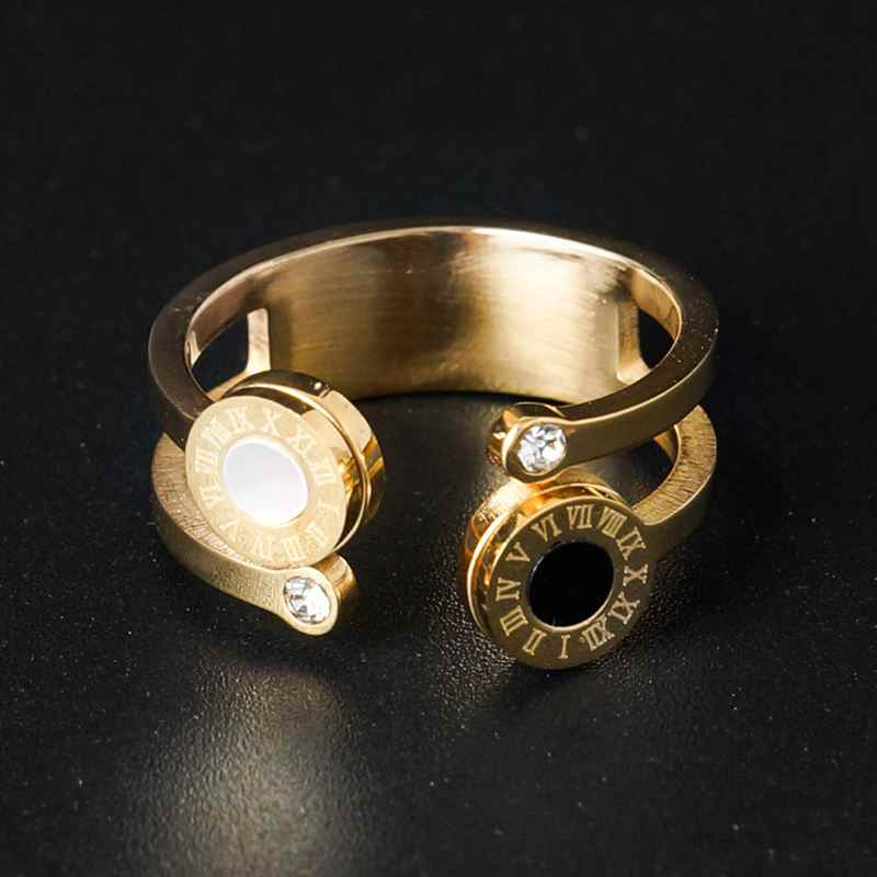 Gold Color Open Cuff Finger Rings Hollow Out Round White Black Roman Number Wedding Bridal Austrian Crystal Ring for Women