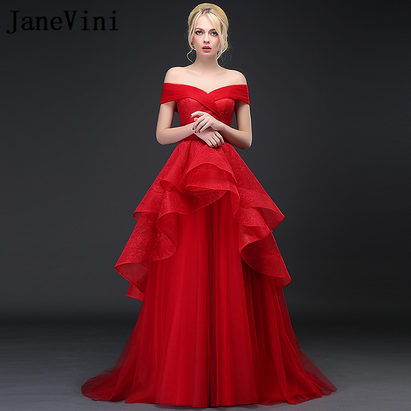 JaneVini 2019 Charming Red Lace   Bridesmaid     Dresses   for Weddings Off the Shoulder Sleeveless A Line Tiered Formal Long Prom Gowns