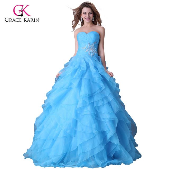 Gracia Karin Sin Tirantes Azul Amarillo fucsia Vestidos de Quinceañera 2017 barato Larga debutante Vestidos de Bola Del Organza dulce 16 Vestidos