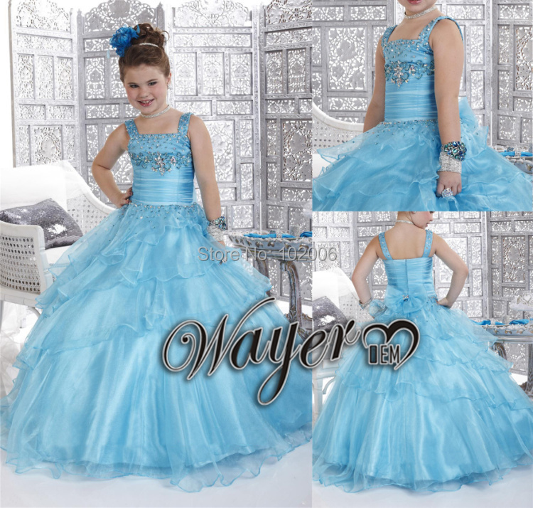 Little Princess Dress Girls Pageant Dress Celebrity Sparkly Beaded Blue Kids Pageant Prom Party Flower Girl Dresses for wedding