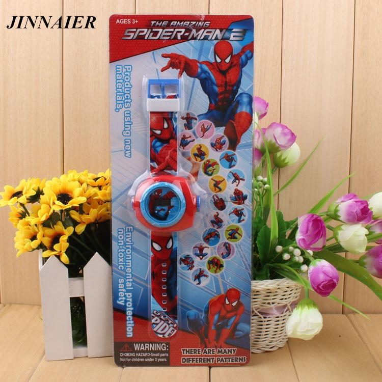 10pcs/lot Wholesales Hot Sales 20/24 Pattern Projection Plastic Watch 3D Cartoon Spiderman LED Digital Silicone Wristwatch