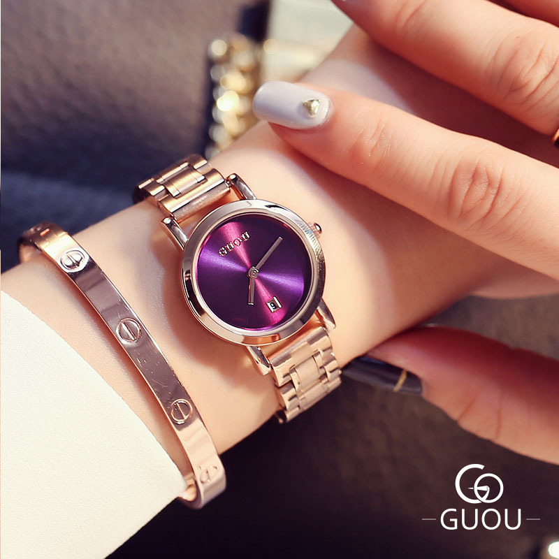 GUOU Luxury Brand Women Quartz Watches Rose Gold Steel band Business Casual Lady Clock Wrist watch Gift Reloj Mujer Montre Femme electrolux ehh 56240 ik