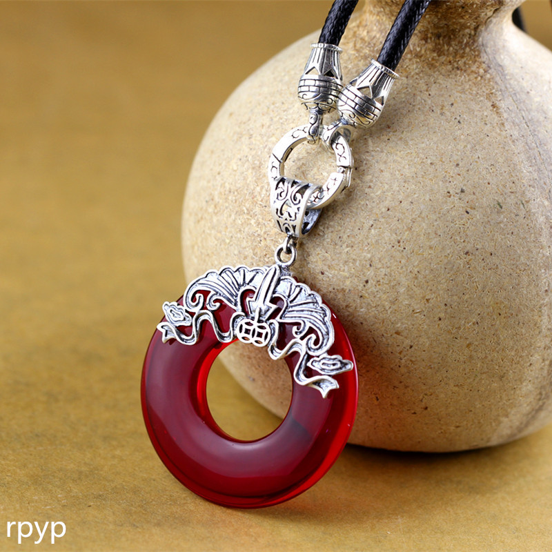 boutique jewelry 999 fine silver jewelry wholesale tai Yin manual inl garnet lady retro safety buckle pendant