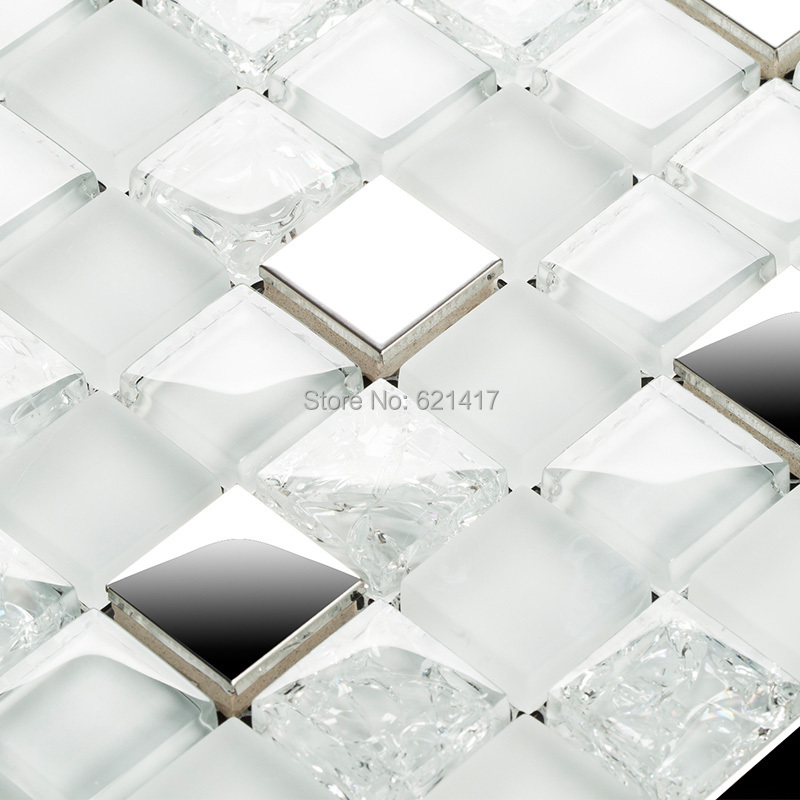 square white and clear ice crackle glass mixed stainless steel metal mosaic  tiles kitchen backsplash mosaic