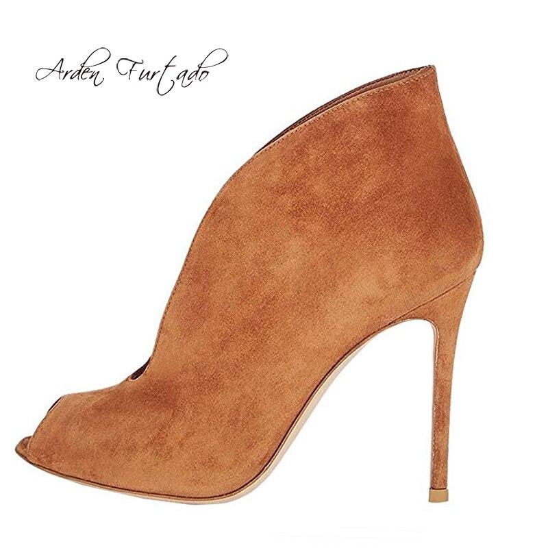 Suede Femmes Slip Talons De Arden Femme Automne 2018 44 Sur Pour Brun 45 Mode Furtado Hauts Bottes Nouveau Printemps Chaussures Toe Peep Brown Style jLUSMpqzVG
