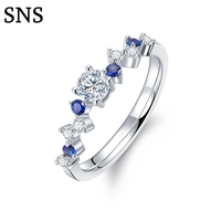 100% Natural Real Round Diamond & Sapphire Engagement Wedding Anniversary Ring Women's Jewelry Ring Solid 14K White Gold