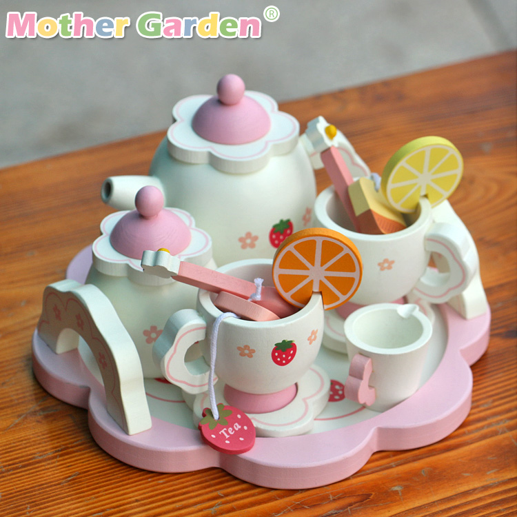 Candice guo! Hot sale white sweet strawberry simulational Tea Set play house wooden toy children birthday gift 1set ...