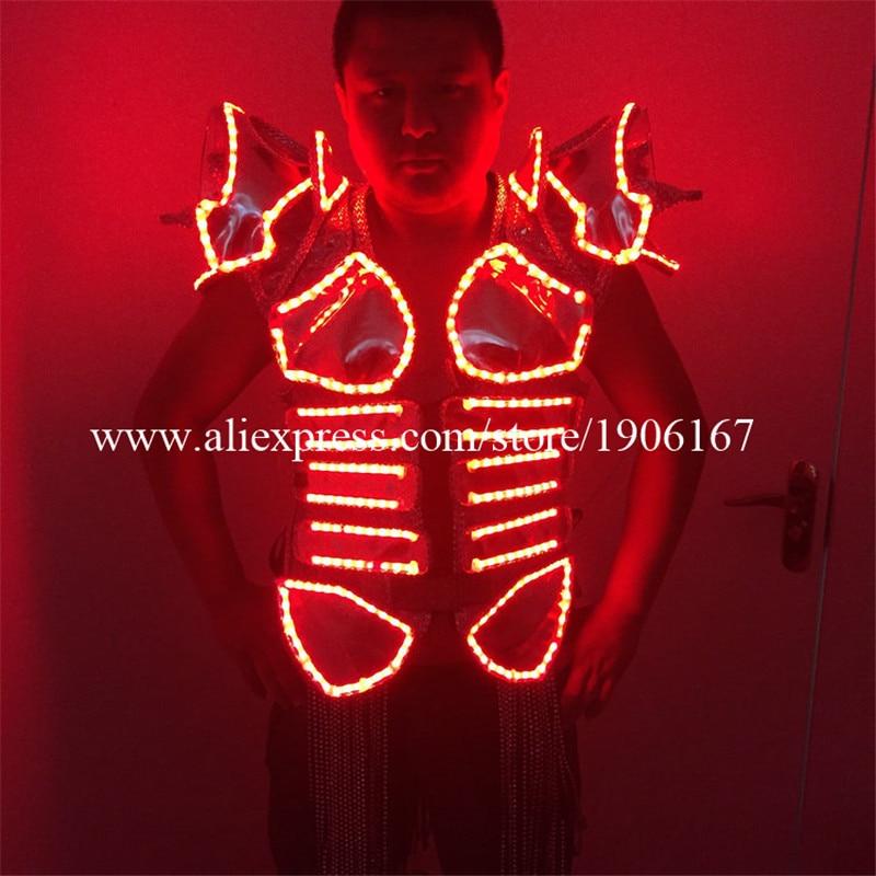 New Design Male Singer Stage LED Light Luminous font b Clothing b font Nightclub LED Illuminate