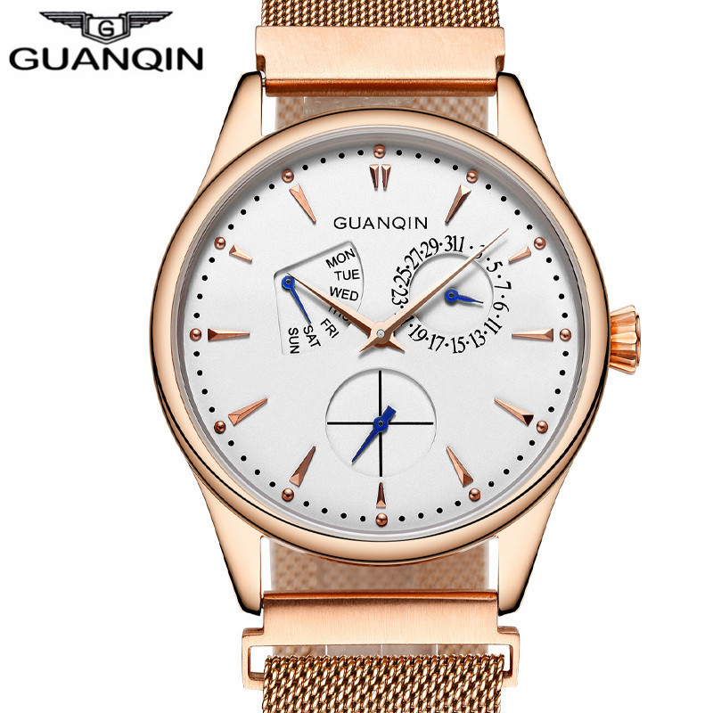 ФОТО New Fashion Mens Watches Top Brand Luxury GUANQIN Men Quartz Watch Mesh Band Stainless Steel Waterproof Clock relogio masculino
