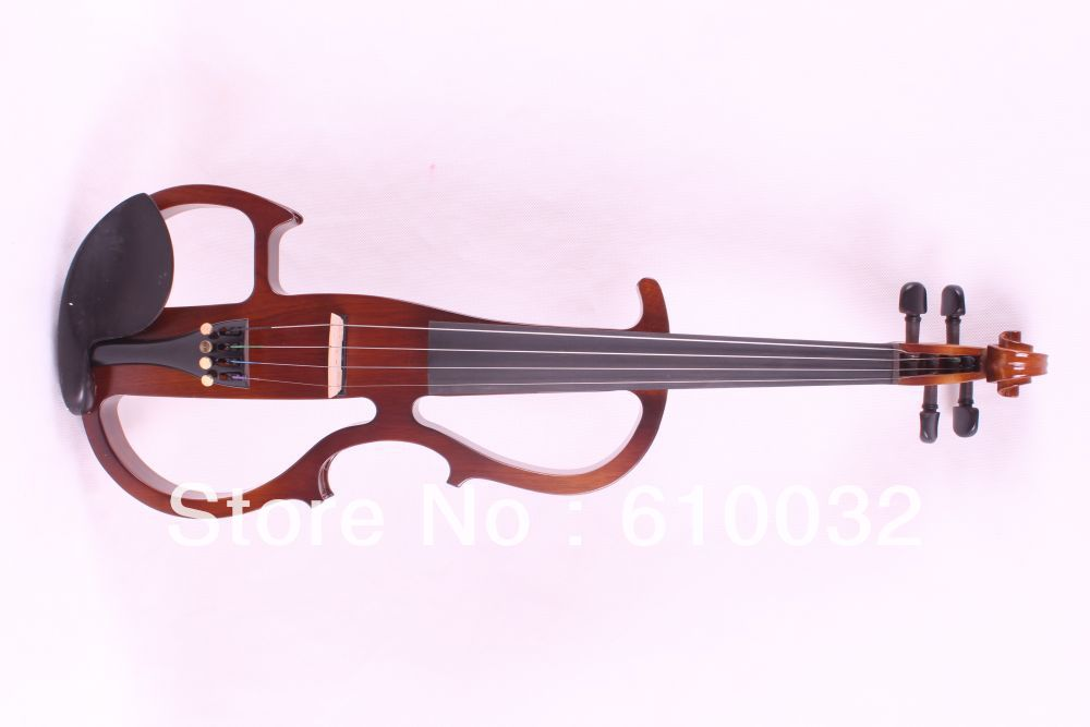4/4 Electric Violin Silent Pickup Fine tone parts include New Golden Color #8-6 brown color handmade new solid maple wood brown acoustic violin violino 4 4 electric violin case bow included