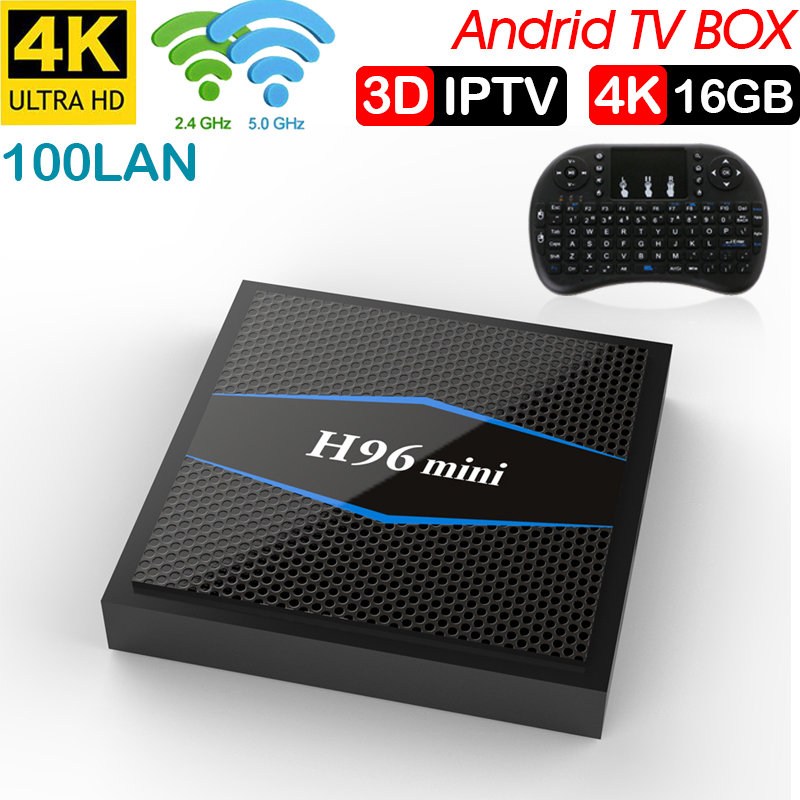 2018 H96 mini caméra de télévision Android 7.1.2 2 GB 16 GB Android tv box Amlogic S905W Quad Core Soporte h.265 UHD 4 K WiFi X96mini
