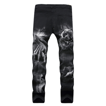 Mens 3D print Jeans Black Skull Pattern Punk Slim Straight Cotton Casual
