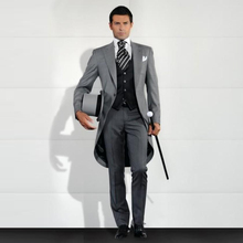 Costume Pantalon Homme 2016 Custom Made Grey Men Slim Fits Suits 3 PCS Tuxedos Grooms Suits Long Wedding Suits Dress Suits