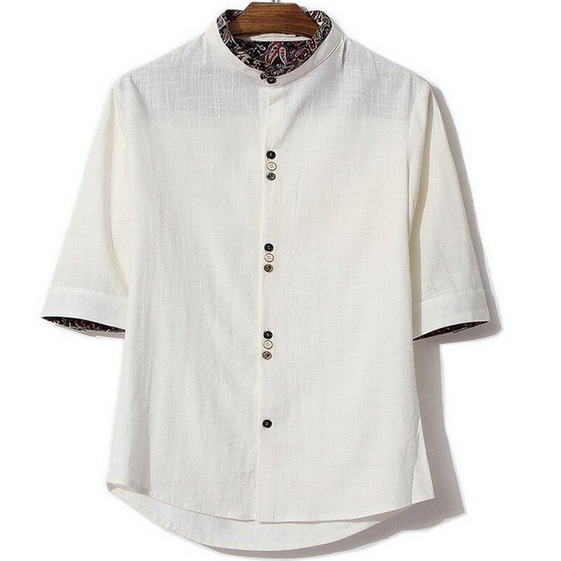 1e53462fc84880 Połowa Rękawem Chiński Styl Wydruku Mężczyźni Luźne Koszula Rozrywka Stójka  Fantazyjne Bluzki Dla Mężczyzna Cały Mecz Jesienią Camisa Masculina