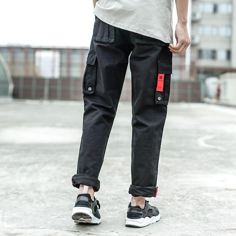 2018 Fashion Men Jeans Black Color Casual Pants Cotton Loose Fit Jogger Pants Brand Jeans Men Hip Hop Big Pocket Cargo Pants