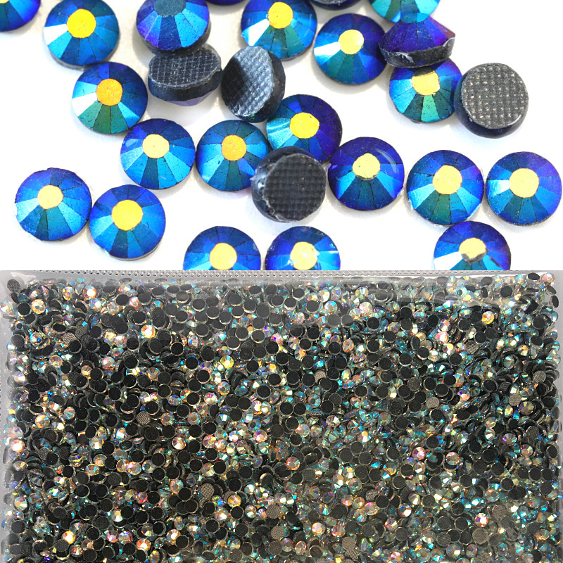 Black Jet AB Wholesale Large Packing Rhinestone Hot Fix Glass Flatback DMC Hotfix Rhinestones For Motif