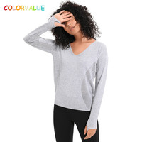 Colorvalue Wool+Acrylic Hollow Out Yoga Fitness Shirts Jersey Women Loose V neck Workout Running Pullover with Thumb Holes XS L
