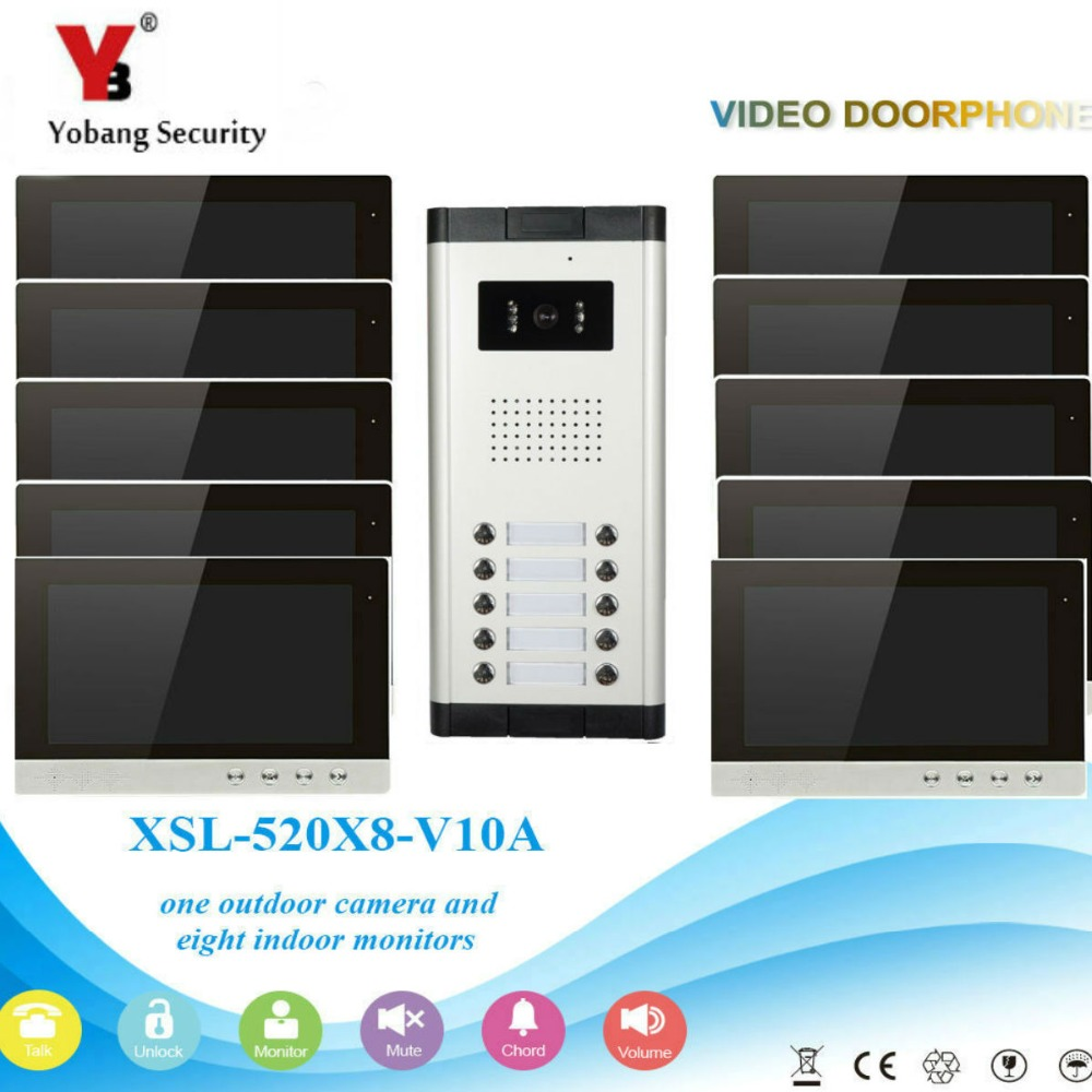 YobangSecurity Video Intercom Monitor 10-Inch Video Doorbell Camera System Intercom Entry Access System For 10 Units Apartment