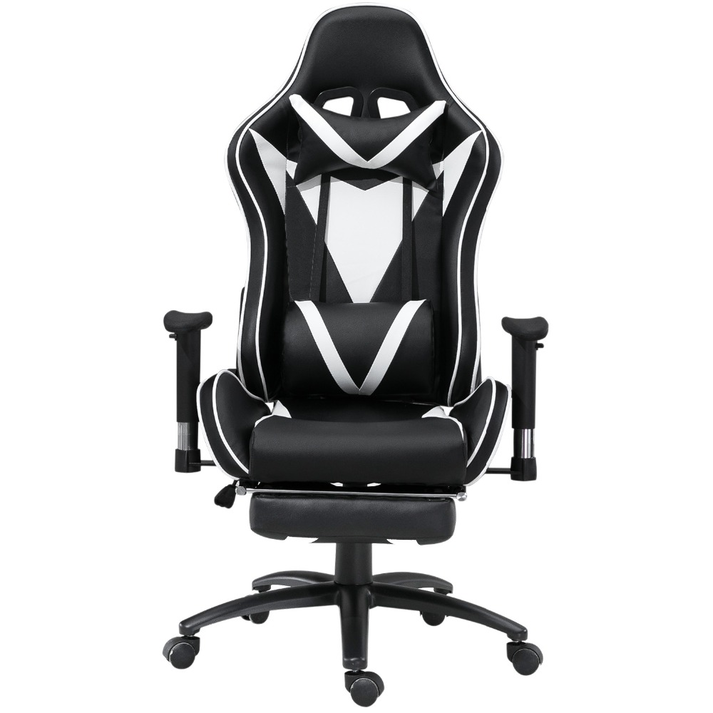 Samincom Ergonomic High-Back Large Size Gaming Office Swivel Chair Game Racing Chair with Footrest Soft Headrest Lumbar CushionSamincom Ergonomic High-Back Large Size Gaming Office Swivel Chair Game Racing Chair with Footrest Soft Headrest Lumbar Cushion