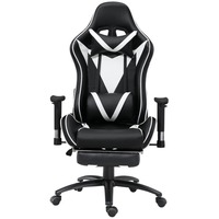 Samincom Ergonomic High Back Large Size Gaming Office Swivel Chair Game Racing Chair with Footrest Soft Headrest Lumbar Cushion