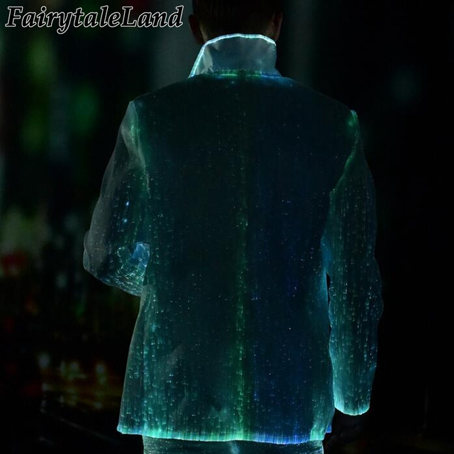 led luminous jacket Fiber Optic winter jacket casual men's business formal jacket Christmas Carnival Party RGB light coat