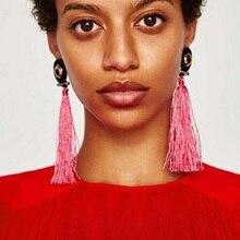 KARELLIE Fashion Hot SaleTassel Long Earrings Statement Jewelry Women Fringed Wedding Drop Dangle Earrings Wholesale