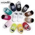 WONBO Группа Новые Приходят Детские Мокасины Детские Первые Ходоки Ребенка Холст ShoesSoft Нижние нескользящей Модные Новорожденных Обувь