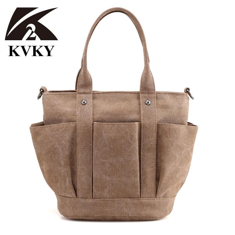 KVKY 2017 New Fashion Female Handbag Lady Girls Casual Canvas Handbag Shoulder Beach Bag Women Messenger