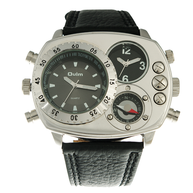 Erkek kol saati marca oulm homens relógios pulseira de couro quartzo-relógio de moda militar esportes relógios dos homens montre homme