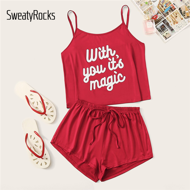 SweatyRocks Bright Red Letter Print Cami Pajama Set Kawaii Sleeveless Pajamas For Women Short Sets Summer Casual Pajama Sets