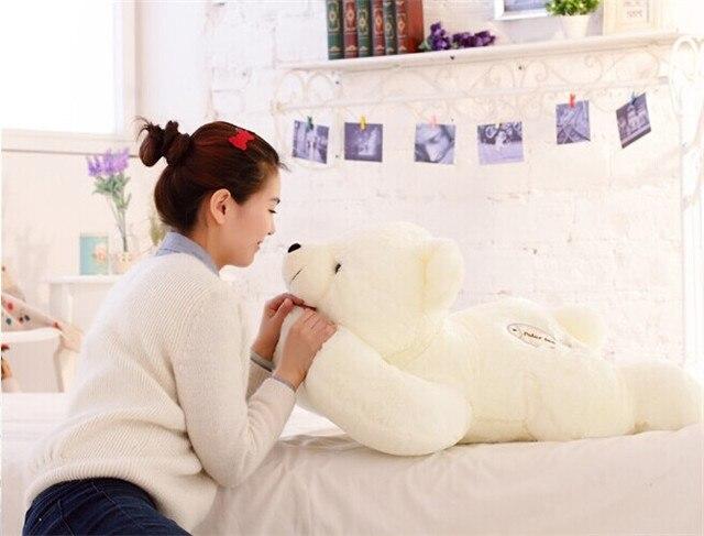 Grand ours blanc 70 cm jouet ours polaire en peluche peluche oreiller doux, cadeau d'anniversaire h969