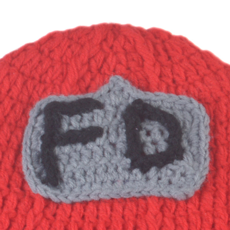 Red Firefighter Designs Crochet Knitted Fireman Suspender Baby Hat