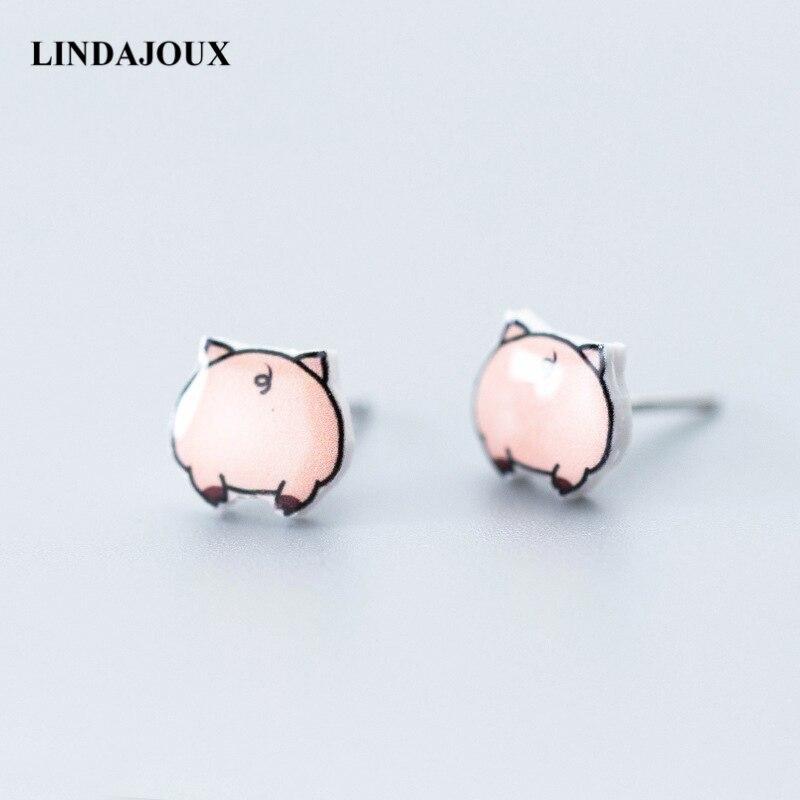 d78867a1d6e2 Pendientes de plata de ley 925 de LINDAJOUX con encanto de cerdo bonito para  mujeres de plata esterlina-joyería pequeños pendientes de tachuelas