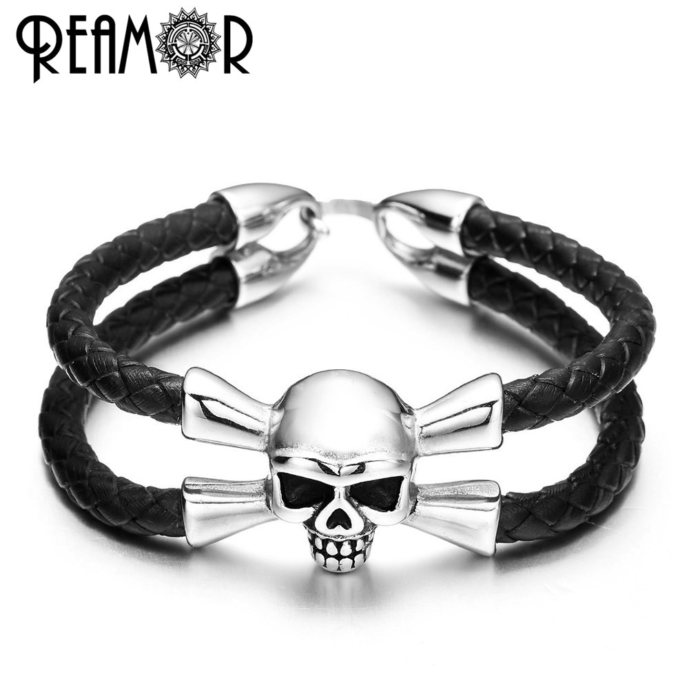 REAMOR 316L Stainless Steel Genuine Braided Leather Pirate Skeleton Bracelets Punk Style Men Skull Head Bangles Fashion Jewelry