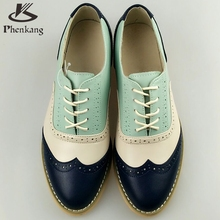 2016 Genuine Leather Big Woman Size 11 Designer Vintage Flat Shoes Round Toe Handmade White Creepers Oxford Shoes For Women Fur