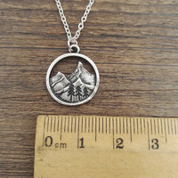 SanLan good quality camping jewelry Outdoor Jewelry Gifts Lovely round pendant Pine Tree necklace under the mountain 4