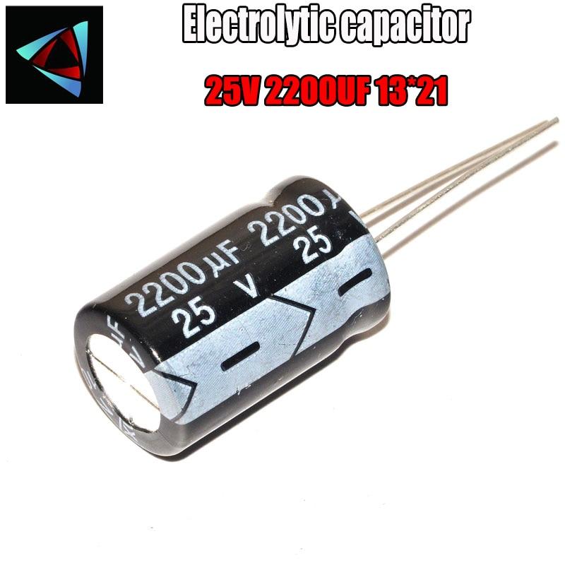 4PCS Higt Quality 25V 2200UF 13*21mm 2200UF 25V 13*21 Electrolytic Capacitor