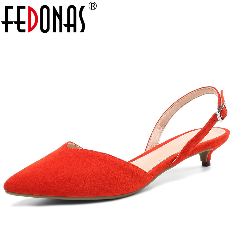 FEDONAS 2019 New Arrival Women Party Ankle Strap Sandals Quality Cow Suede Summer Thin Heels Shoes