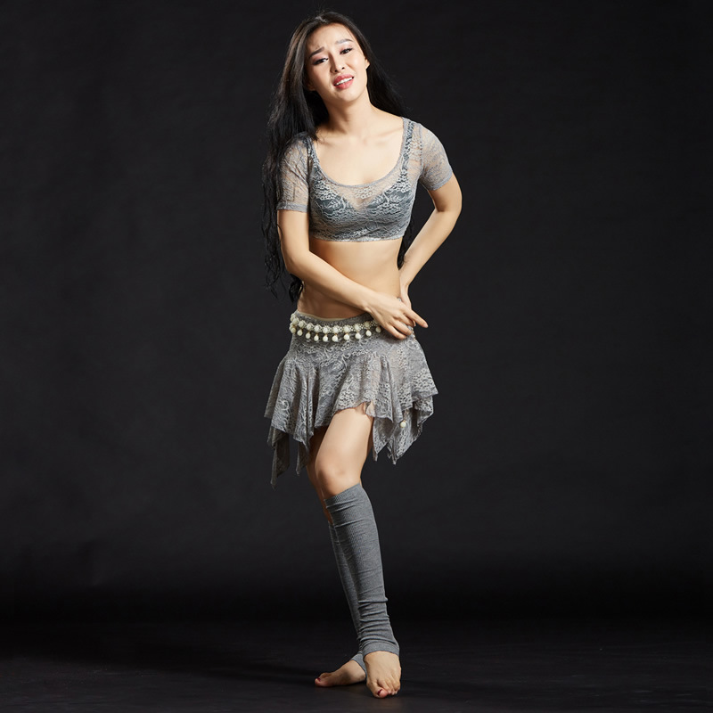 2018 Sexy Belly Dance Clothes Women Dance Rose Lace Outfits 2pcs Top and Skirt Modal Bellydance Costume Lace pink lace up design long sleeves top and pleated design skirt two piece outfits
