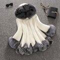 Alto Abrigo de Piel de Imitación Mujeres Silver Fox Cuello de Piel Con Capucha visón Abrigo de Pieles Medio-largo Abrigo de Invierno de Abrigo Más El Tamaño S-4XL PC166