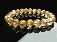 Natural Gold Rutilated Quartz Crystal Titanium Woman Man Gemstone From Brazil 9mm Round Beads Bracelet Jewelry Bangle AAAA