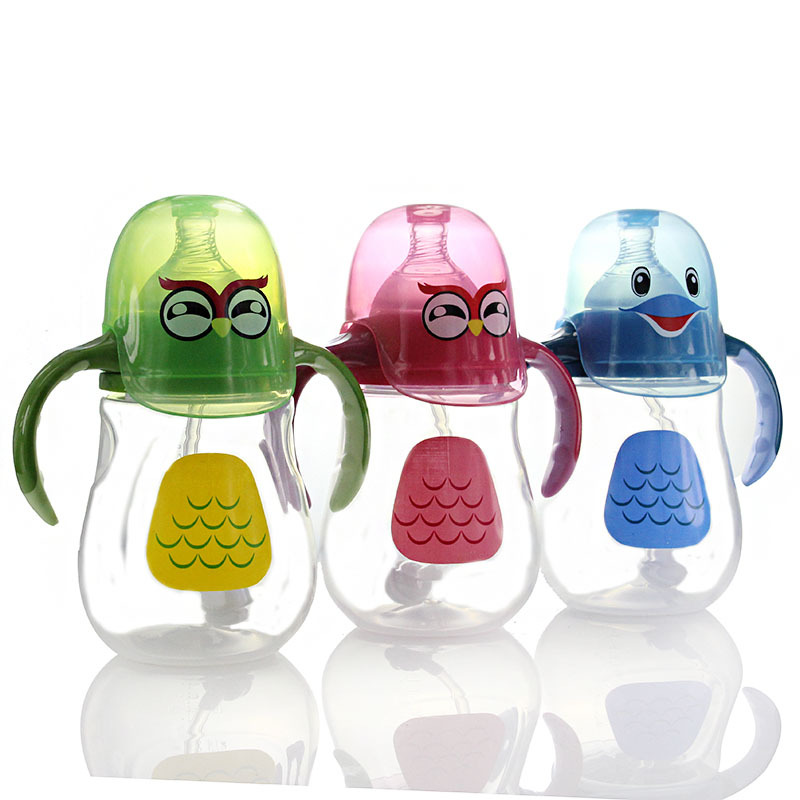 New Baby Bottle Wide Mouth Cartoon Chicken Anti-flatulence Pp Penguin Wholesale 240ml