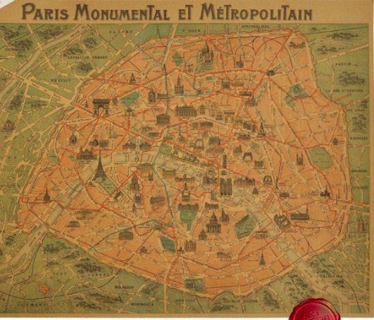 Online Shop Paris Monumental Et Metro Politain Vintage Map France ...