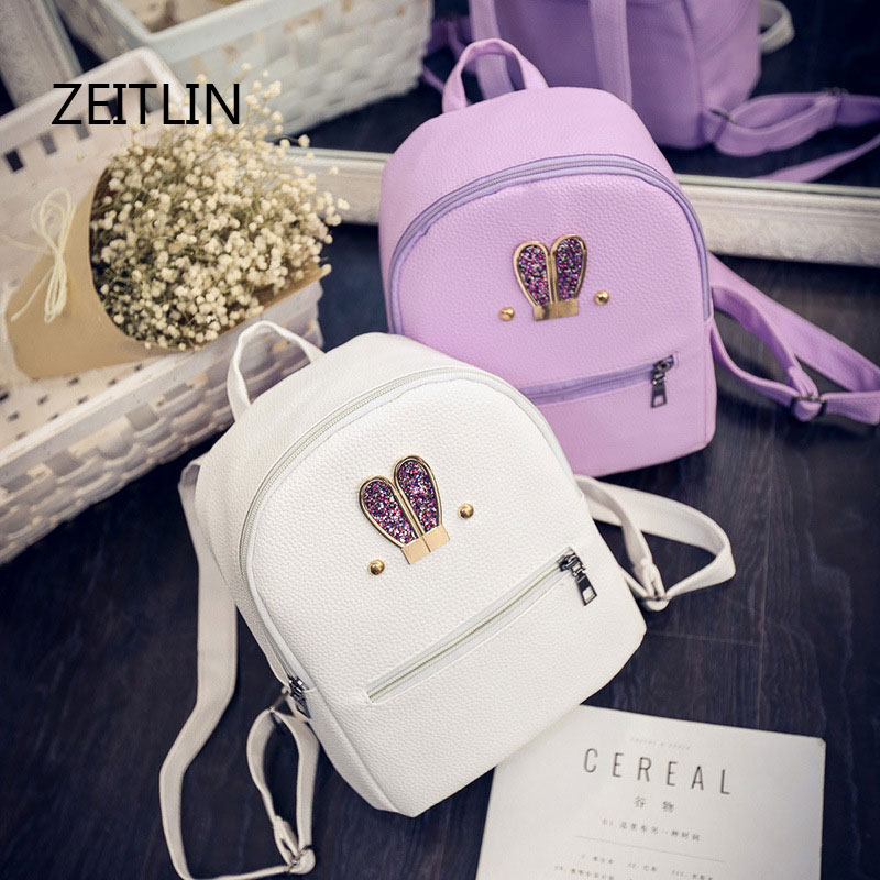 Fashion New Backpack PU Leather Women Bag Sweet Girl Mini Shoulder Bag Cute Rabbit Ear Sequins Rivet  Backpack T1584