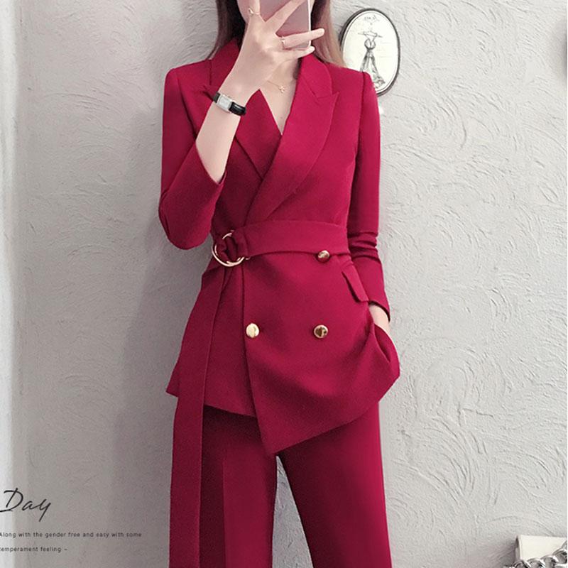 สีแดง RoosaRosee 2019 แฟชั่นเสื้อผ้าสตรี Twinsets Office Lady Wine Red Blazer สีดำเสื้อ + กางเกง 2 ชิ้นชุดชุด-ใน ชุดสตรี จาก เสื้อผ้าสตรี บน   2