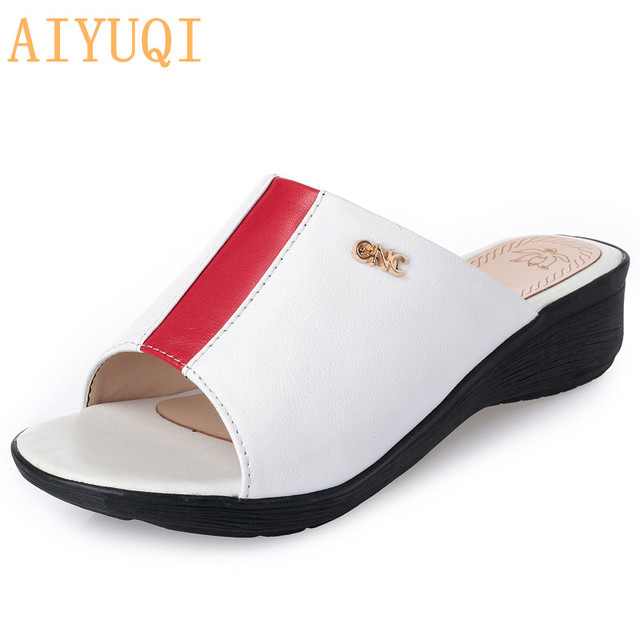 b912f867b AIYUQI2018 Hot sale fashion genuine leather woman slipper Red   black  stitching metal decoration comfortable wedges mother shoes